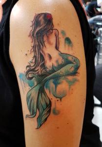 Kleine Meerjungfrau mit Watercolor
